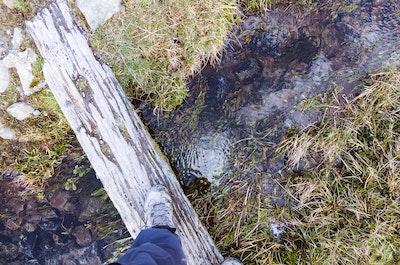 POV view of me crossing a stream