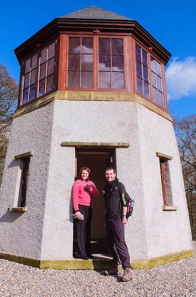 Me and Katy standing outside the Pepperpot historical site