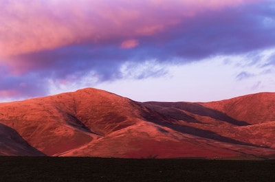 Pink sunset on the hills
