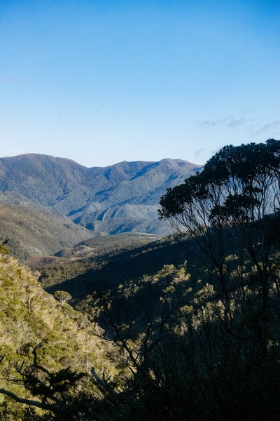 Sunlight over hills between Perry Saddle and Gouland Downs