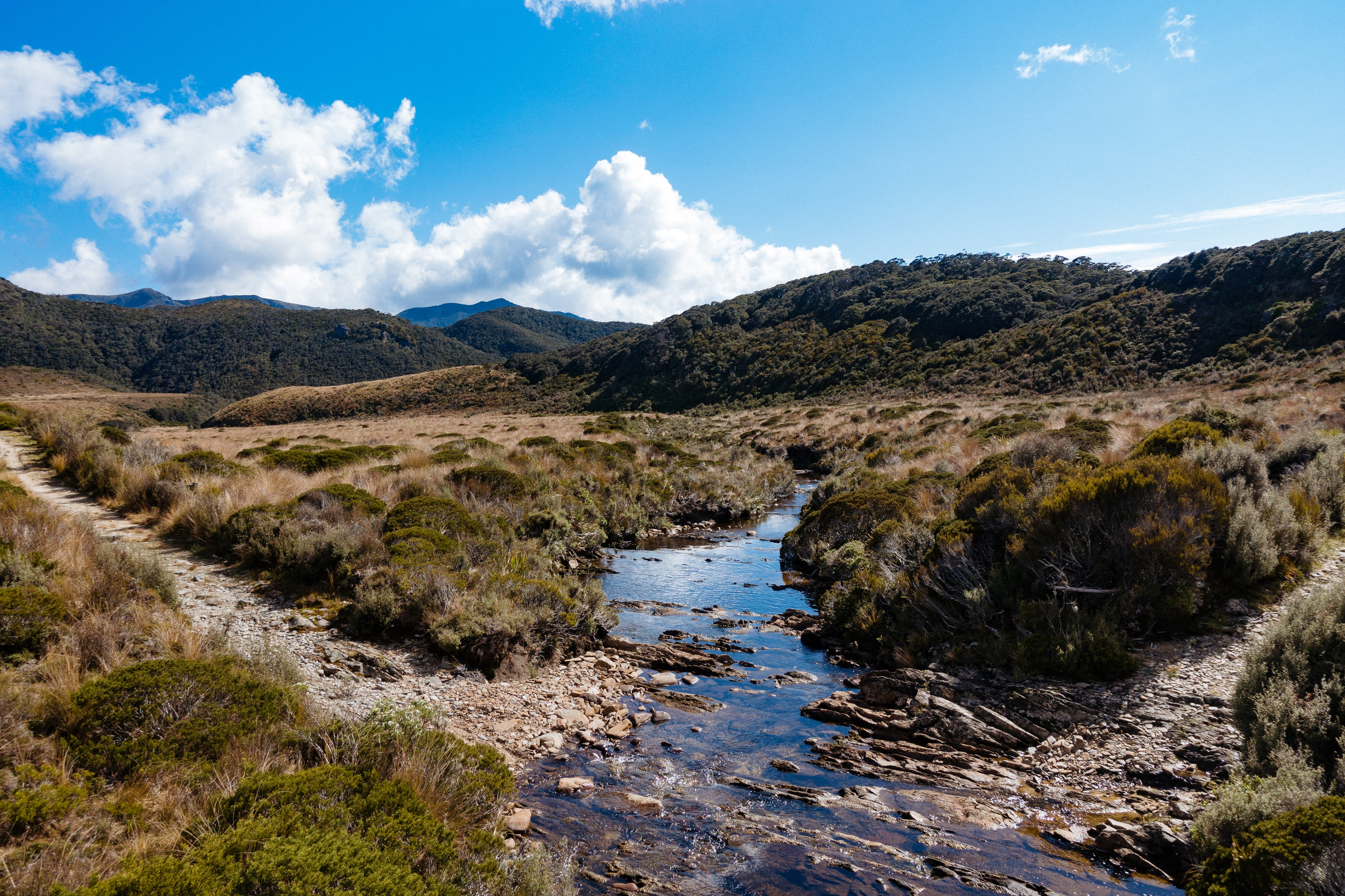 A view of a stream running through the Gouland Downs