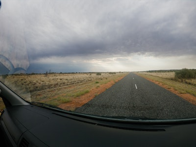 GoPro shot of the road to Kings Canyon