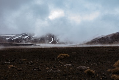 Mist and steam over the crater