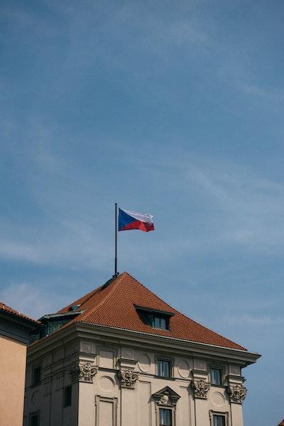 The Czech flag flying