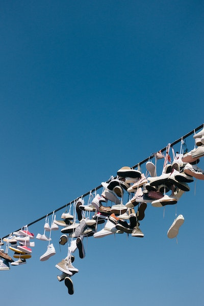 Trainers on a wire at the Metronome