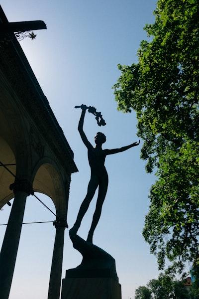 A statue in the castle gardens