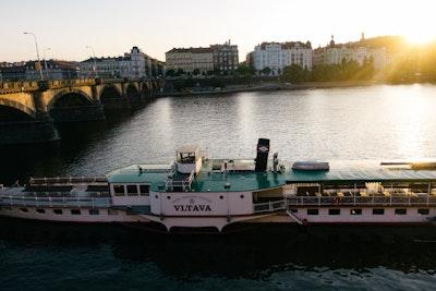A boat, the Vltava on the Vltava