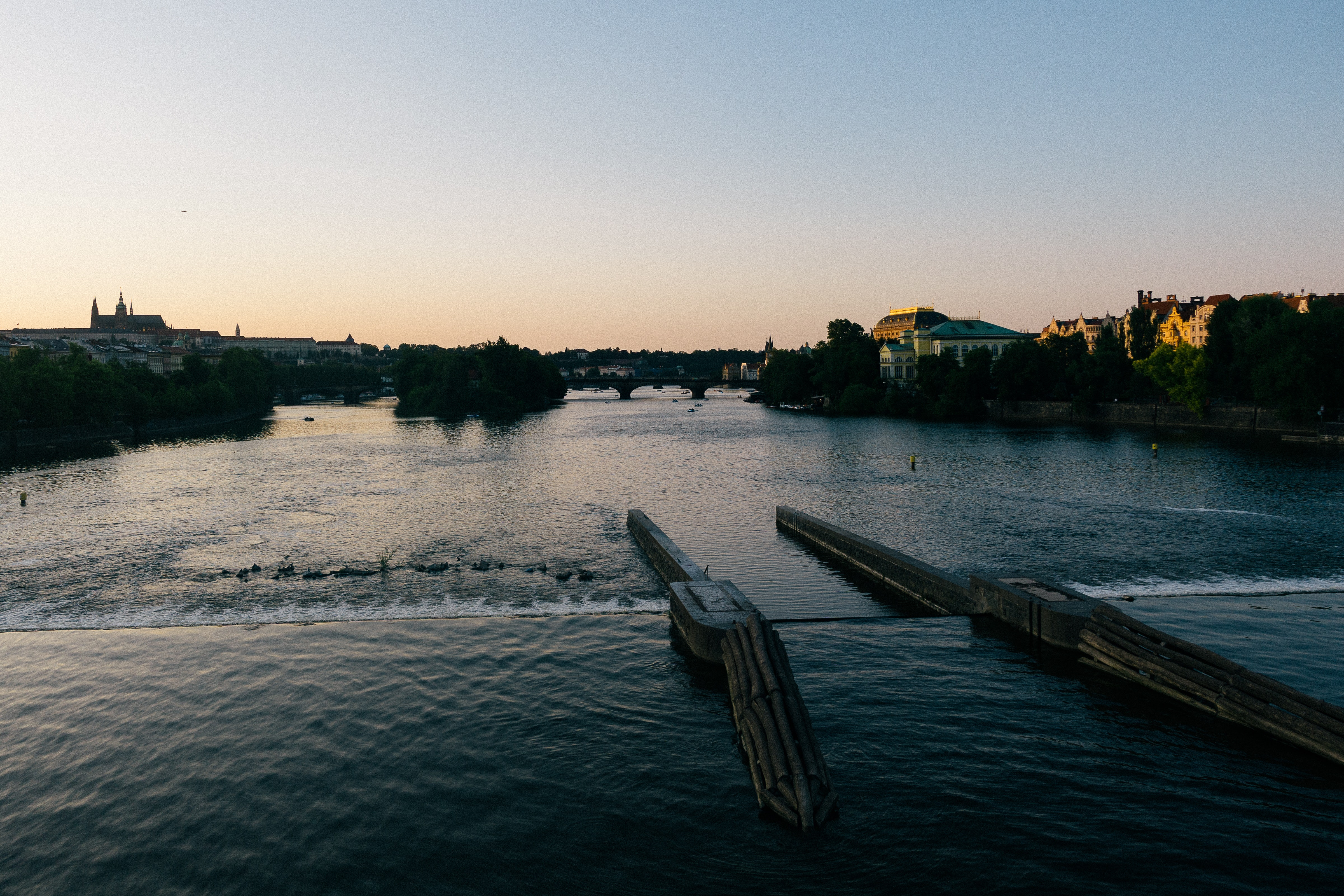 A weir looking north on the river at sunset