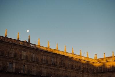 Salamanca Plaza Major at Sunrise with the Moon